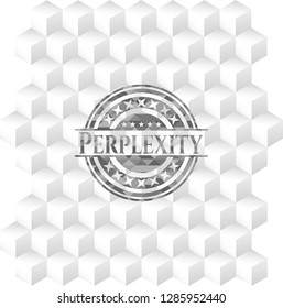Perplexity grey emblem with cube white background