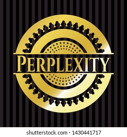 Perplexity shiny badge. Vector Illustration. Detailed.