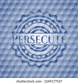 Persecute blue emblem with geometric pattern.
