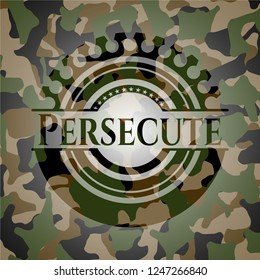 Persecute written on a camouflage texture