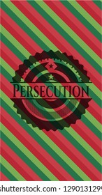 Persecution christmas emblem background.