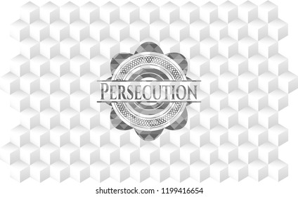 Persecution grey badge with geometric cube white background