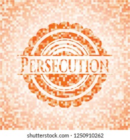 Persecution orange tile background illustration. Square geometric mosaic seamless pattern with emblem inside.