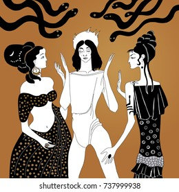 Persephone and Aphrodite arguing about Adonis. Greek mythology archetypes. Vector illustration. Based on hand drawn original style art. Smartly layered.