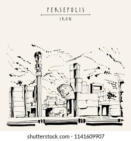 Persepolis, Iran. Ruins and horse statue in ancient city. Ceremonial capital of the Achaemenid Empire. UNESCO world heritage site. Tourist attraction. Vintage hand drawn postcard in vector