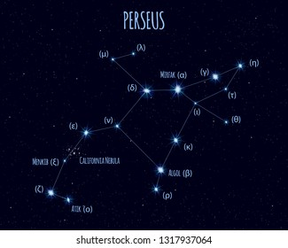 Perseus constellation, vector illustration with the names of basic stars against the starry sky