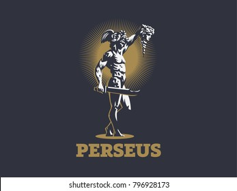 Perseus with the head of Medusa. Vector emblem.