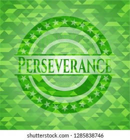 Perseverance green emblem with mosaic background