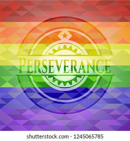 Perseverance on mosaic background with the colors of the LGBT flag