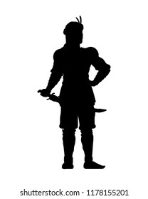 Persia warrior with his weapon isolated vector. Fighter silhouette on white background.