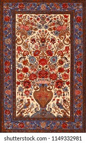 Persian carpet, floral vector texture. Easy to edit and changing 16 colors with swatches palette.
