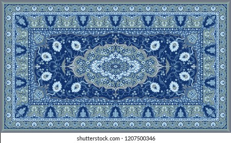 Persian carpet texture. Abstract tribal modern ornament background. Colored ector illustration.