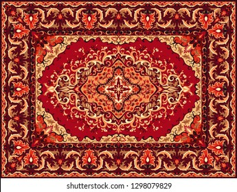 Persian carpet texture. Abstract tribal modern ornament background. Colored vector illustration.