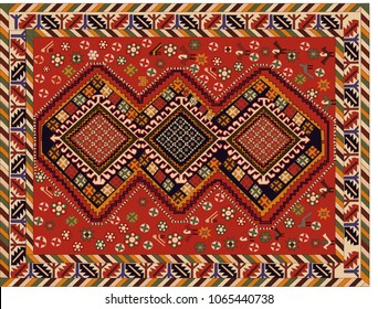 Persian carpet, tribal vector texture. Easy to edit and change 16 colors by swatch window.