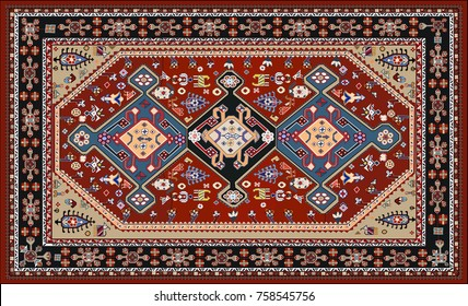 Persian carpet, tribal vector texture. Easy to edit and changing colors and background.