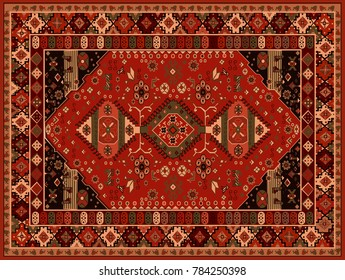 Persian carpet, tribal vector texture. Easy to edit and changing colors and background
