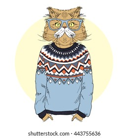 persian cat  dressed up in jacquard pullover, furry art illustration, fashion animals