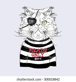 Persian cat pirate, nautical poster, hand drawn graphics, animal  illustration, silkscreen print, textile design