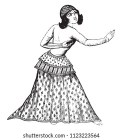 A Persian dancer, after a Persian miniature, vintage engraved illustration. Magasin Pittoresque 1841.