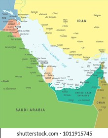 Persian Gulf Map - Detailed Vector Illustration