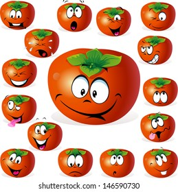 persimmon fruit cartoon with many expressions isolated on white background