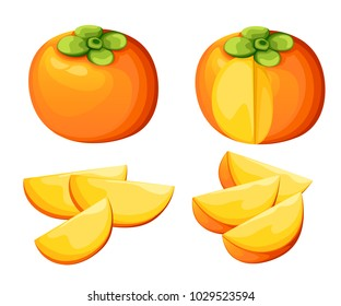 Persimmon with leaves whole and slices of persimmons. Vector illustration of persimmon. Vector illustration for decorative poster, emblem natural product, farmers market. Website page and mobile app.