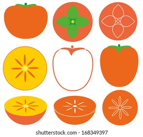 Persimmon set. Isolated persimmons on white background. EPS 10. Vector illustration