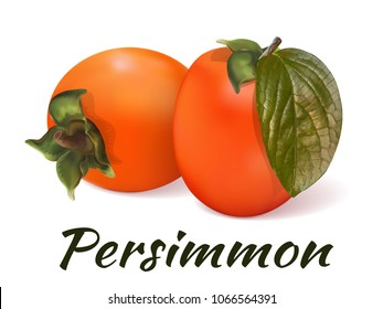 Persimmon - a still-life of two fresh fruits with a green leaf and soft shadows lying on the surface. Juicy, fruit dessert. Vivid, realistic, vector illustration. Isolated on white background.
