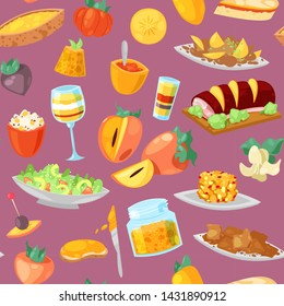 Persimmon vector fresh fruity food dessert and sweet fruit of persimmon-tree illustration set of vegetarian nutrition diet background