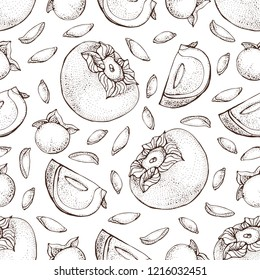 Persimmon vector seamless pattern. Hand drawn object with Persimmon sliced piece and seeds on white background. Fruit sketch style wallpaper. Detailed vegetarian food sketch