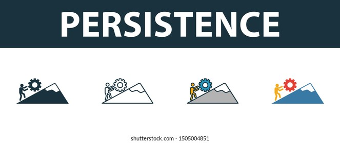 Persistence icon set. Four elements in diferent styles from soft skills icons collection. Creative persistence icons filled, outline, colored and flat symbols.