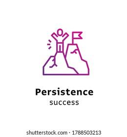Persistence Success written black color with amazing purple gradient icon