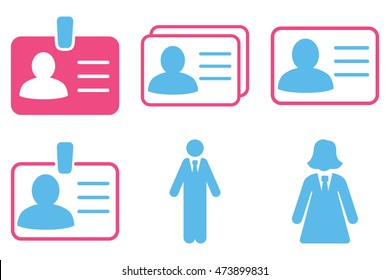 Person Account Card vector icons. Pictogram style is bicolor pink and blue flat icons with rounded angles on a white background.