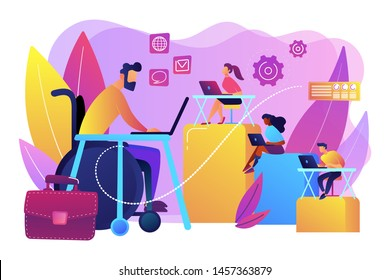 Person adaptation with disability. Office workplace, coworking zone. Disabled employment, work for disabled people, we hire all people concept. Bright vibrant violet vector isolated illustration