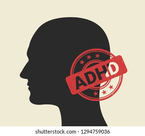 Person with ADHD diagnosis. ADHD stamp - positive confirmation and certification of diagnosis. Mental disorder - hyperactivity and inattention. Labelling of patient. Vector illustration