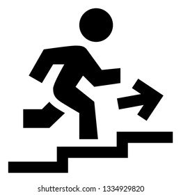 Person Advancing Up Steps Icon