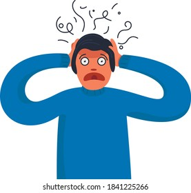 Person with anxiety touch head surrounded by think. Frustrated person with nervous problem feel anxiety and confusion of thoughts. Mental disorder and chaos in consciousness. Flat vector illustration.