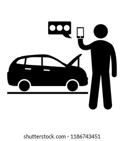 A person is asking for roadside assistance through smartphone