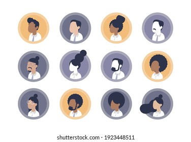 Person avatars collection. Diverse male and female user profile set. Professional business people team. Various ethnicity, race and nationality. Flat vector illustration with different haircut styles.