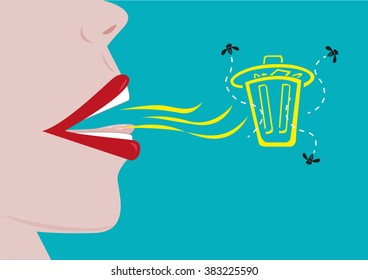 A person with a bad breath represented by a garbage can with flies. Editable Clip Art.