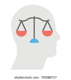A person with a balance in his mind symbolising ethics, flat icon