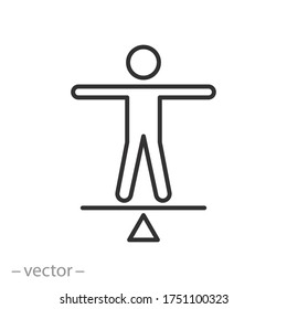 person balance icon, stability equilibrium, social calm, thin line symbol on a white background- editable stroke vector illustration eps10