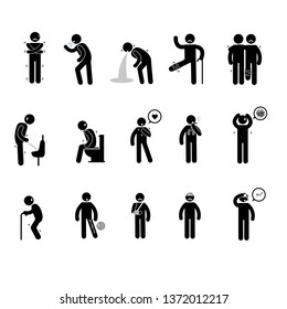 Person basic body language pictogram, symptom sick, sore, stomachache, headache, vomit, backache, broken legs, old on white background