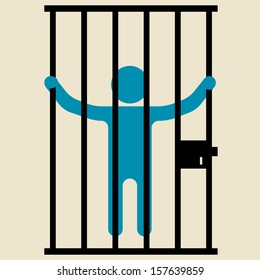 person behind bars in jail or prison