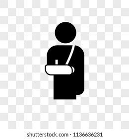 Person with broken arm vector icon on transparent background, Person with broken arm icon