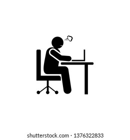 Person, businessman, sit down, angry icon. Element of negative character traits icon. Premium quality graphic design icon. Signs and symbols collection icon for websites