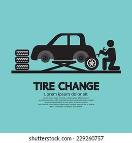 Person Changing Automobile Wheel Tire Graphic Symbol Vector Illustration