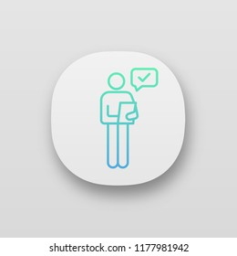 Person checking document app icon. Manager. Good news or results. UI/UX user interface. Personal recommendation. HR manager reading resume. Web or mobile application. Vector isolated illustration