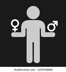 Person is choosing sex and gender - gender neutrality and arbitrary choice and decision to be woman or man / female or male / boy or girl. Vector illustration.