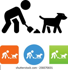 Person cleaning dog poop icon